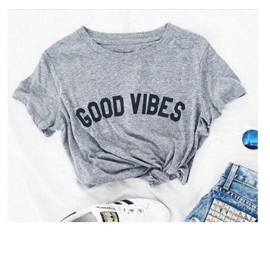 Футболка Skuggnas Good Vibes унисекс, женская и Мужская футболка, Высококачественная футболка Tumblr, повседневные хлопковые футболки с коротким рукав...
