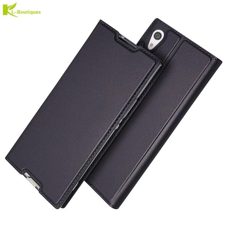 Funda abatible de cuero para Sony Xperia L1 L2 XA1 Plus X XA XZ2 XZ3 Ultre XZ XZ1 Compact XZ2 Premium XZ3 Z5