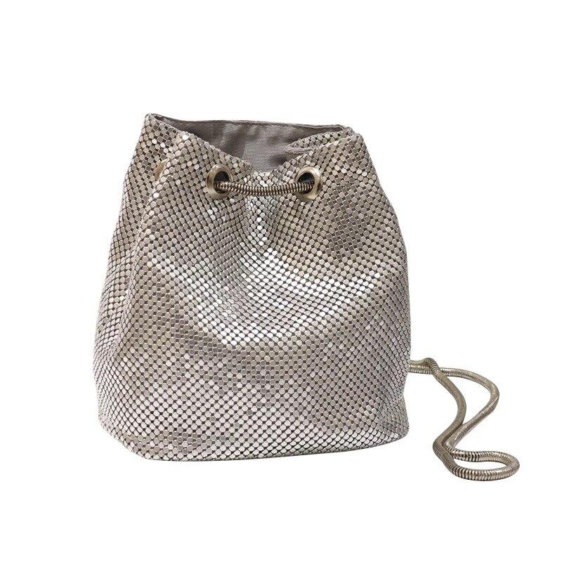 Bolso bandolera con cadena de plata para mujer, bolsa de cubo con cordón brillante, bolso de hombro de moda, bandolera de fiesta parpadeante