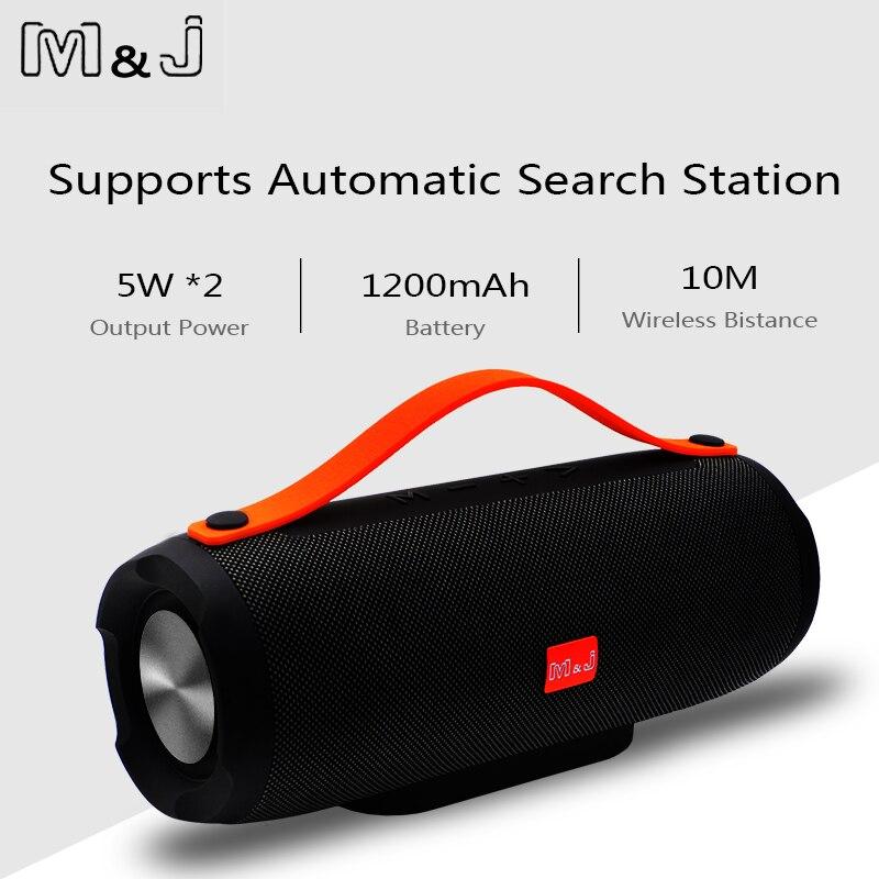 Altavoz Bluetooth inalámbrico portátil M & J altavoz estéreo gran potencia 10W sistema TF FM Radio música Subwoofer columna altavoces para computadora