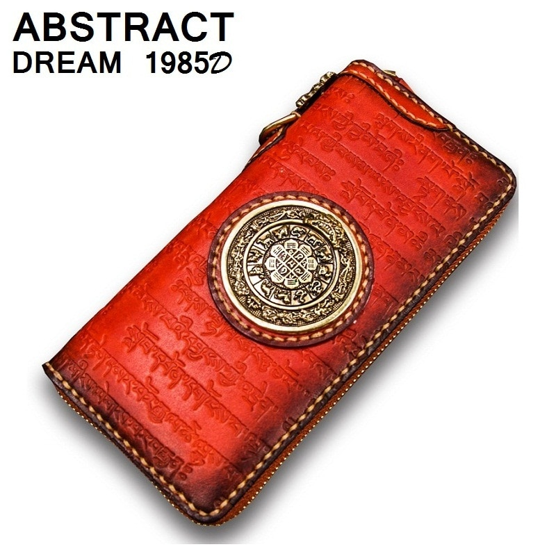 woman wallet real leather luxury Wallet nine palace eight purse High grade vintage Ladies Classic Buddhist scriptures wallet