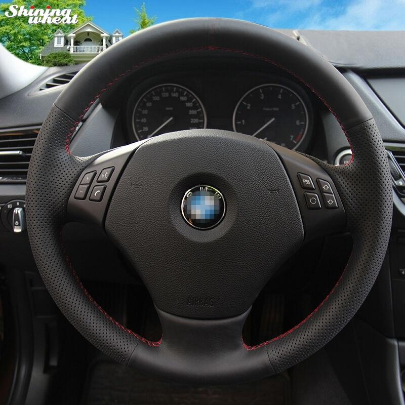 Shining wheat Black Genuine Leather Car Steering Wheel Cover for BMW E90 320 318i 320i 325i 330i 320d X1