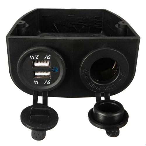 Edfy dupla barco caravana carro usb isqueiro soquete divisor 12 v adaptador de carregador