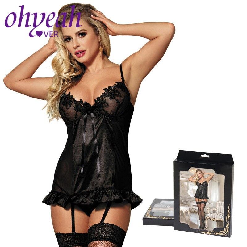 Ohyeahlover picardías de satén negro bordado mujeres Sexy trajes de tamaño grande Lencería erótica camisa interior espalda abierta RM7429