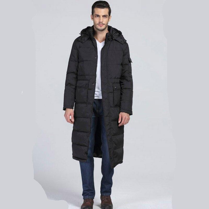 Мужская куртка с капюшоном, черная, длинная, теплая, с хлопковой подкладкой