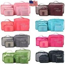 6 pçs sacos de viagem à prova dwaterproof água roupas armazenamento organizador de bagagem bolsa embalagem cubo