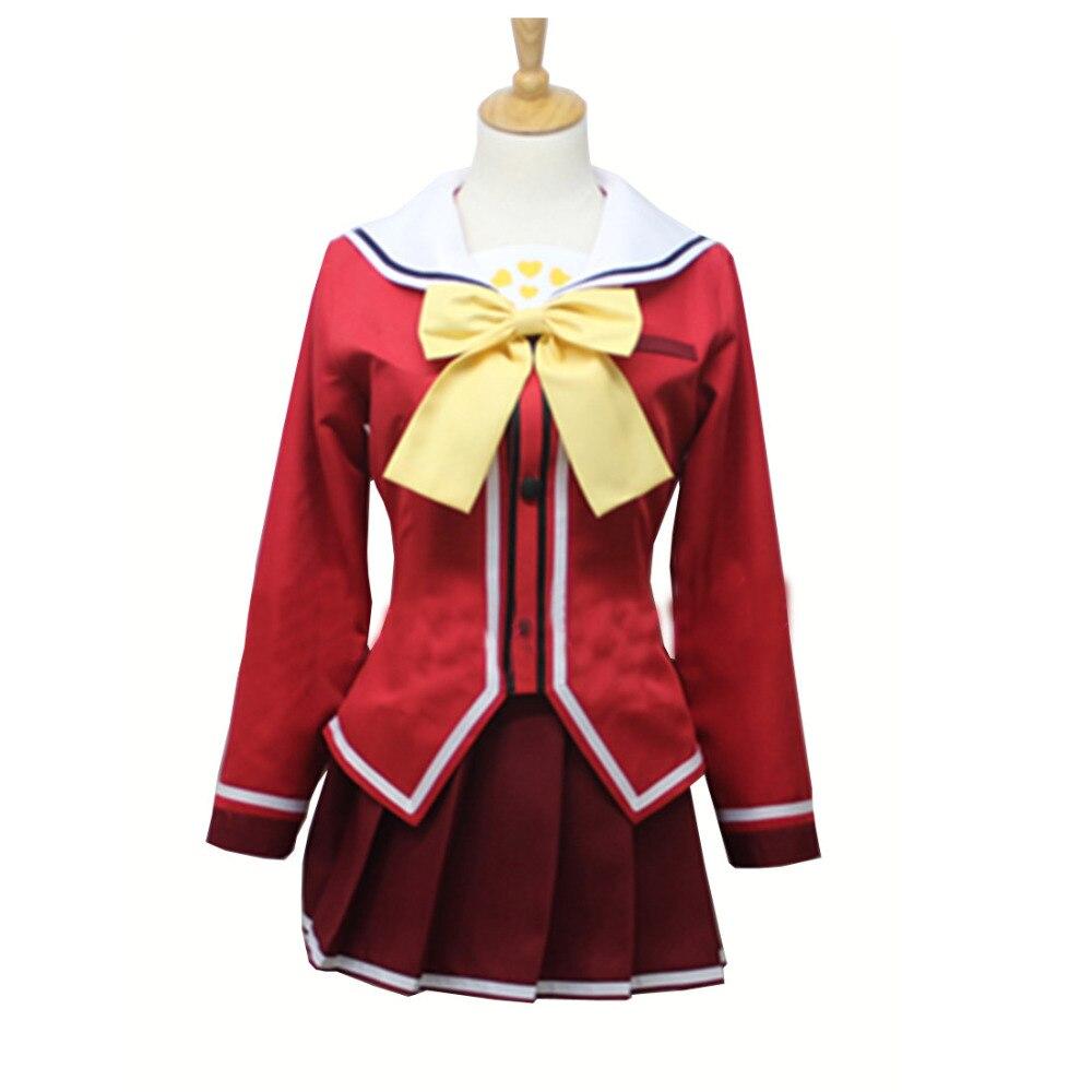 2017 nuevo disfraz de Cosplay de uniforme escolar rojo de Anime de Carlota Nao Tomori
