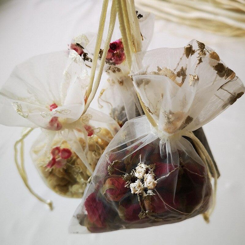 Bolsa de almacenamiento de Organza transparente bordada 3 uds bolsa de embalaje de joyería flores secas té dulces bolsa de regalo organizador de almacenamiento 10*14cm