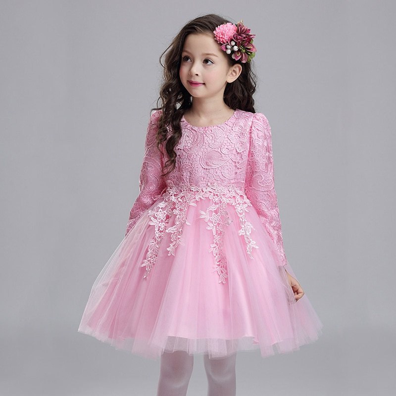 Новинка осени 2020, вечерние платья с длинными рукавами и цветочным принтом для девочек, элегантная детская одежда на день рождения и Рождест...