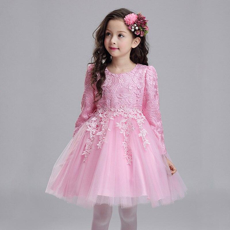 2020 New Autumn Long Sleeves Wedding Flower Party Girl Dress  Kids Baby Elegant Birthday Christmas Clothes Children Pink Dress