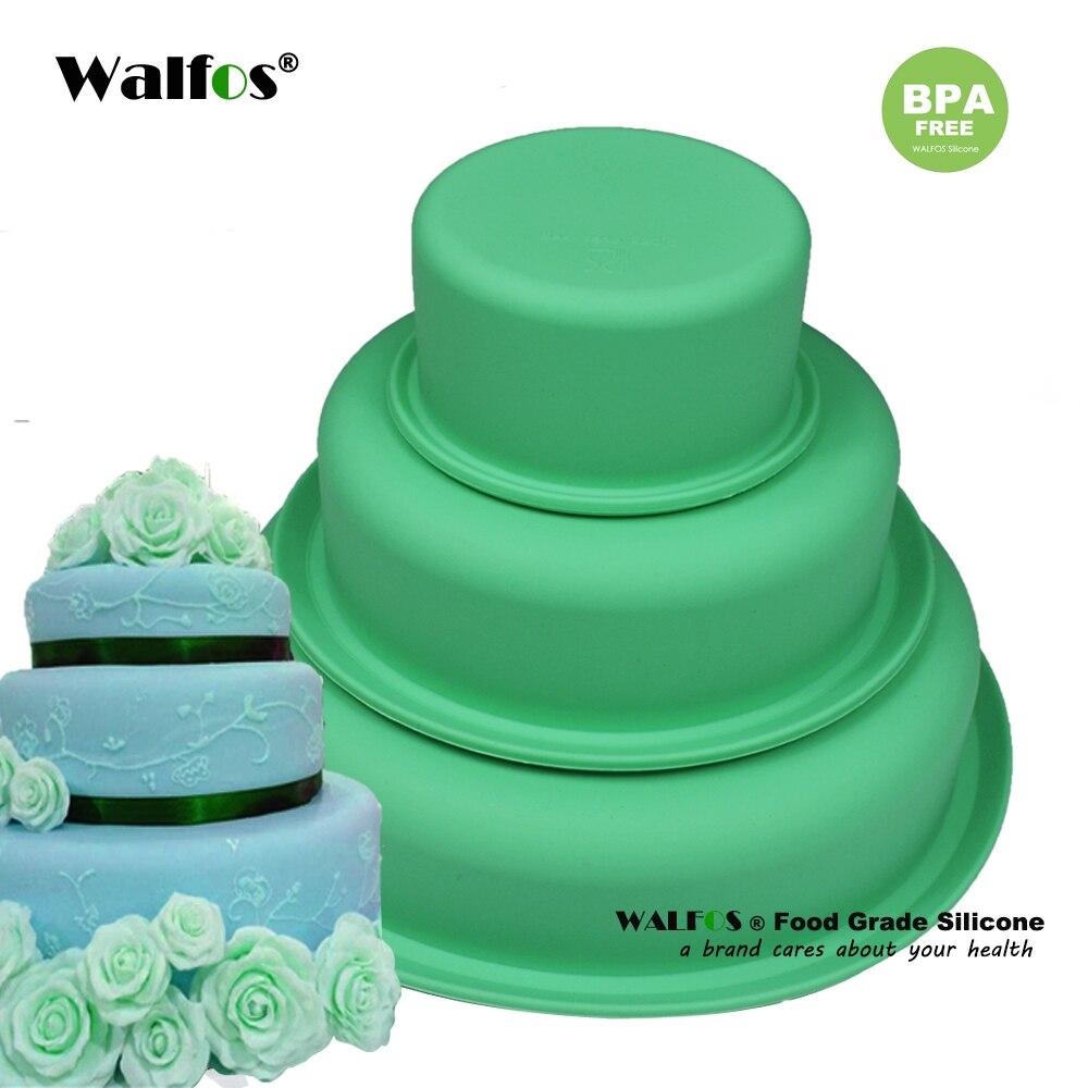 WALFOS  Beautiful Three layer Cake Silicone Fondant Cake Mold Cake Mould, Bakingware Tool