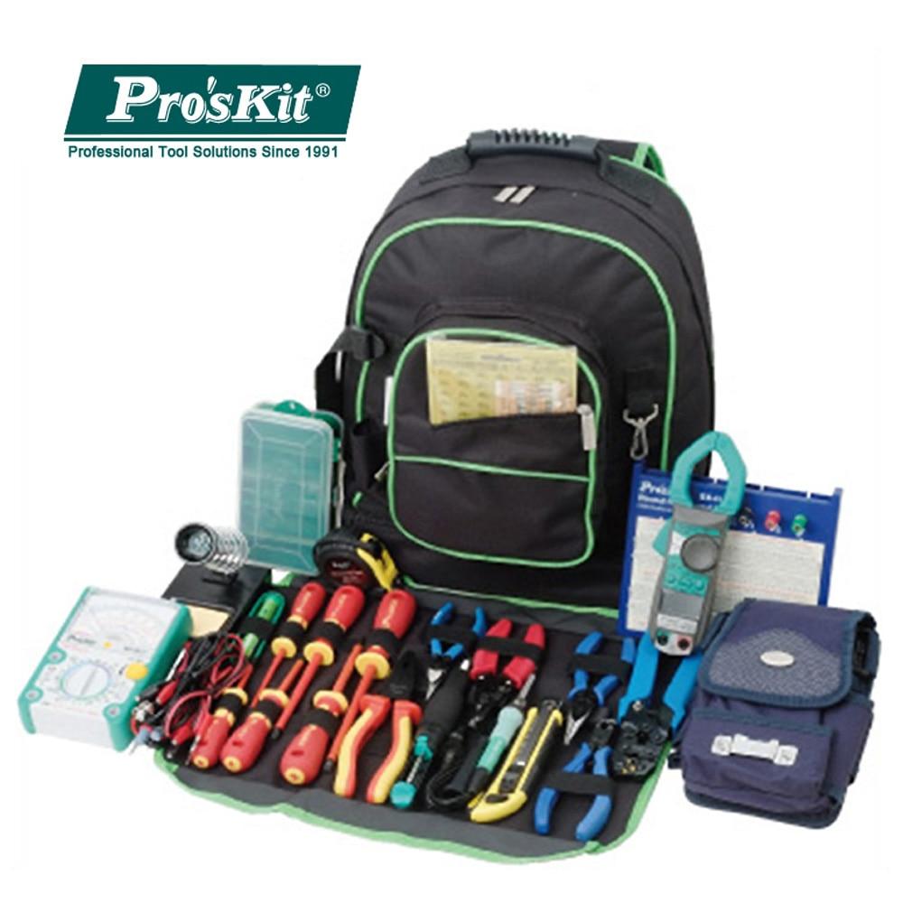 Proskit 9ST-307 multipropósito doble hombro herramienta bolsa electricista kit de herramientas Universal bolsa de viaje gran almacenamiento reparación mochila
