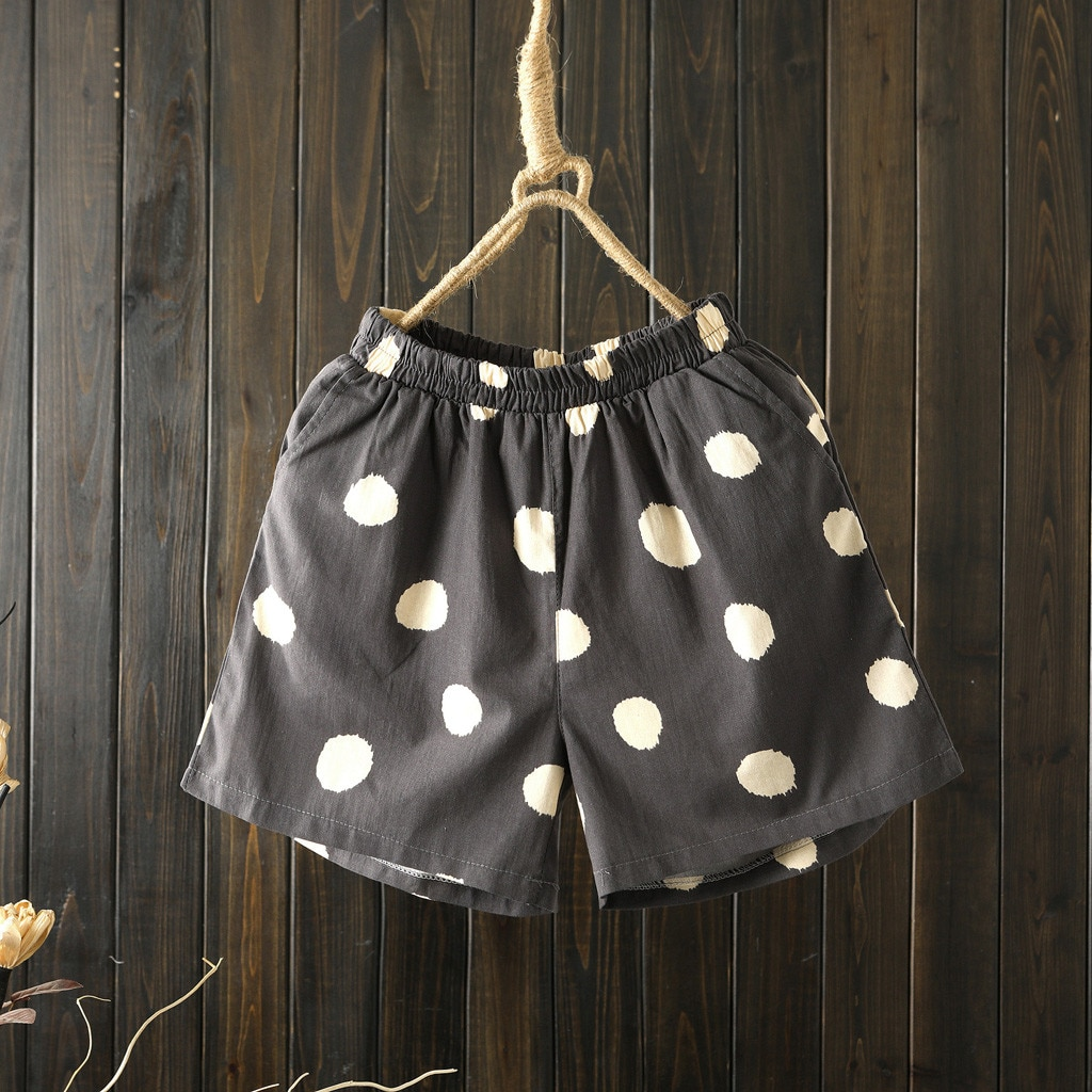 Pantalones cortos de verano para mujer, cintura alta, holgados, con estampado de lunares, pantalones cortos informales de algodón y lino con bolsillos, pantalones cortos de pierna ancha para mujer