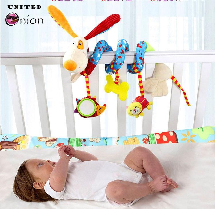 baby Toy plush doll stuffed Bed hanging Rattles teether Safe crib revolves around stroller Pendant playing car mirror animal kid
