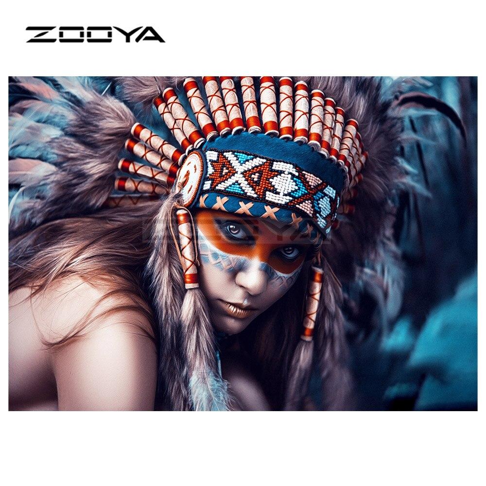 ZOOYA 5D DIY Алмазная вышивка индийские женщины и перья Алмазная Картина Вышивка крестом круглая дрель Мозаика Украшение CJ1056