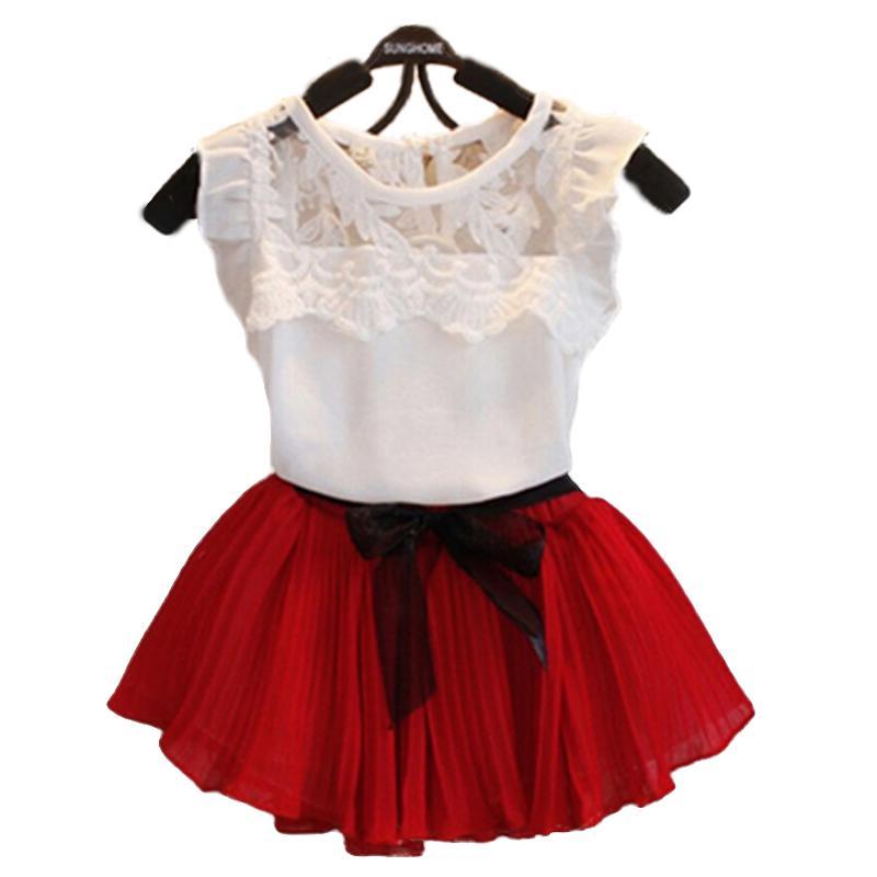 2016 Nuevo vestido de princesa de niñas + Camiseta 2 piezas conjunto de 2-10 años de edad tutú en capas vestido conjuntos de ropa conjuntos de trajes de encaje de moda para niñas