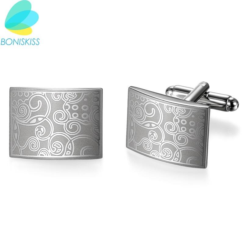 Boniskiss Роскошные модные запонки с лазерной гравировкой, дизайнерские запонки для мужчин, брендовые запонки, высококачественные запонки для ...
