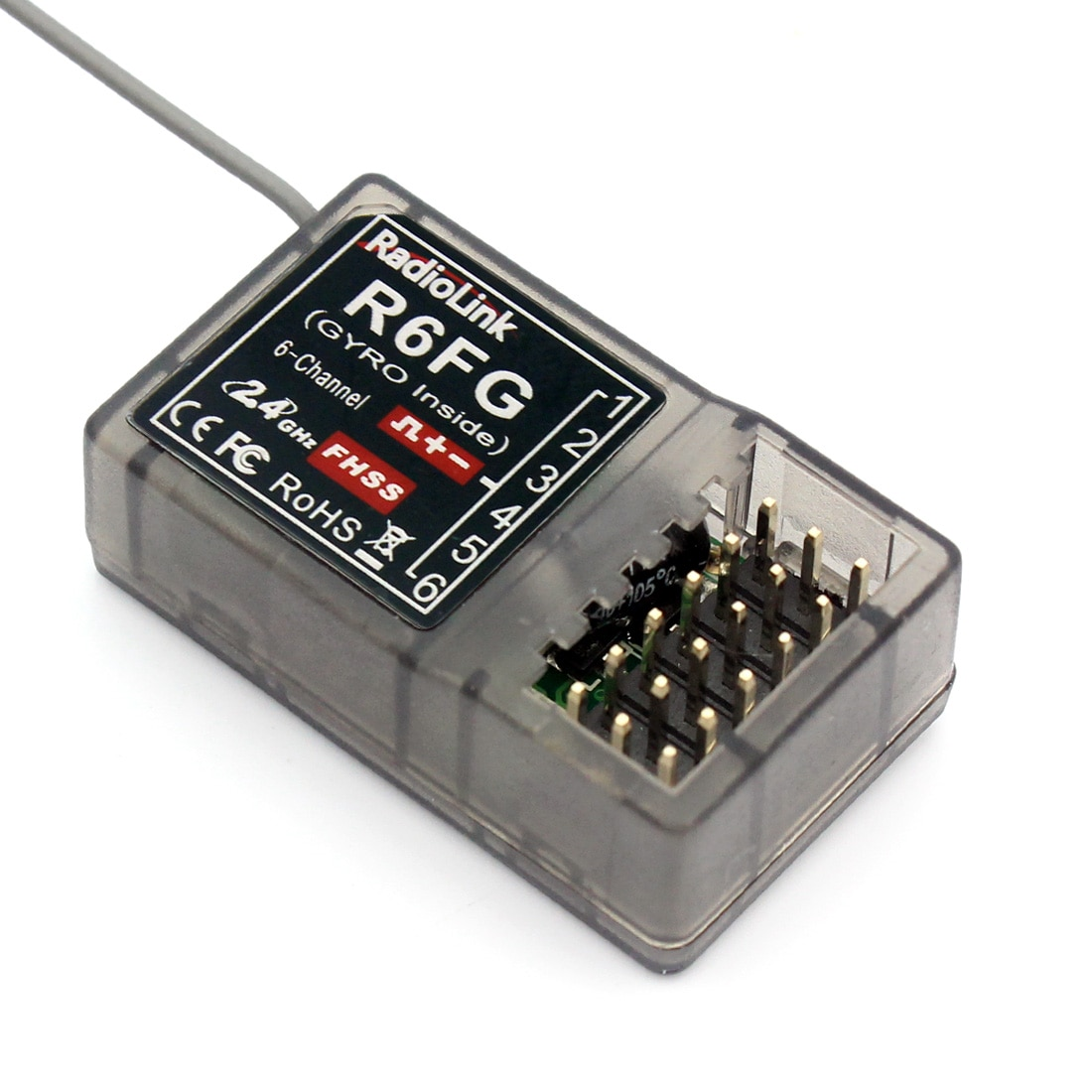 Radiolink R6FG 2,4 GHz 6 canales receptor FHSS sistema de Control de Radio Gyro Integrant para RC4GS RC3S, RC4G T8FB transmisor F21425