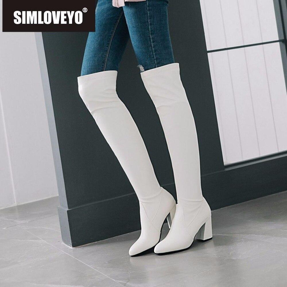 SIMLOVEYO botas por encima de la rodilla para mujer, tacón alto grueso, punta redonda, piel sintética, delgada, larga, antideslizante, a prueba de agua, talla grande 15 46 B920