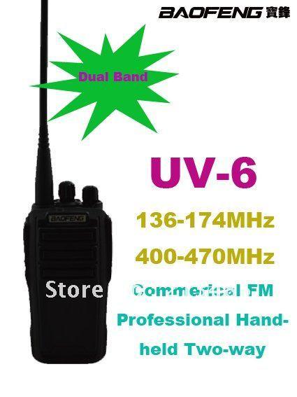 Boa qualidade Baofeng UV-6 VHF  136 - 174 MHz e UHF  400 - 470 MHz comercial Handheld FM Professional Two way Radio