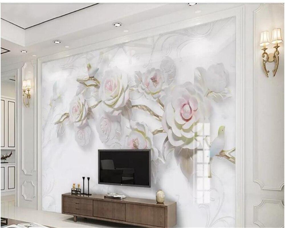 Beibehang personalizado 3D en relieve Rosa pájaro mármol Fondo pared decorativo pintura papel de pared hudas belleza behang