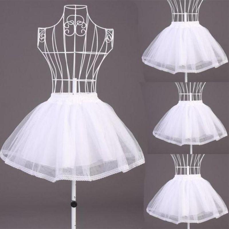 Camadas duplas cor sólida curto tule petticoats cintura elástica uma linha malha underskirt crinoline para o vestido de casamento