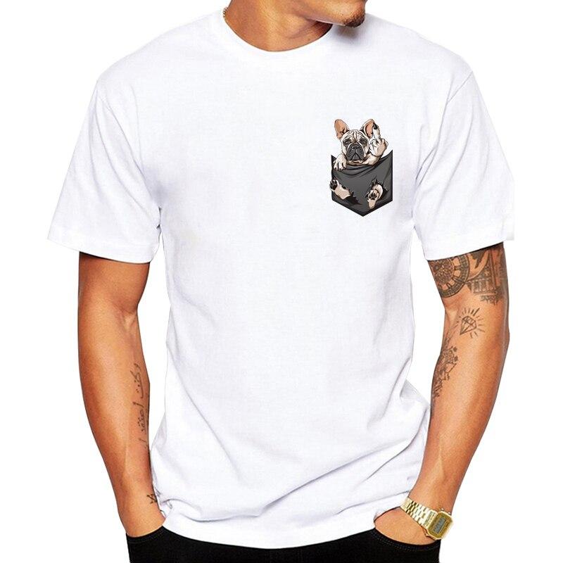 2019 newest desgin Middle Finger Tshirt men FU Pocket T shirt Funny French Bulldog Harajuku Tees