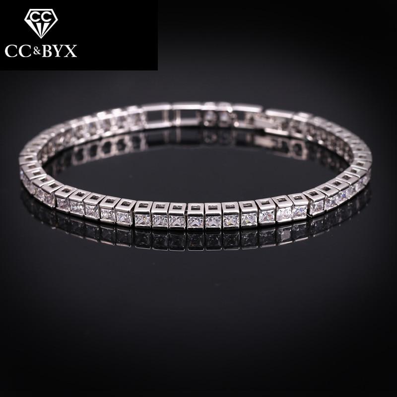 Pulseras CC para mujeres diamantes de imitación concurso CZ diamante cristal encanto brazalete boda accesorios nupcial compromiso joyería S0045