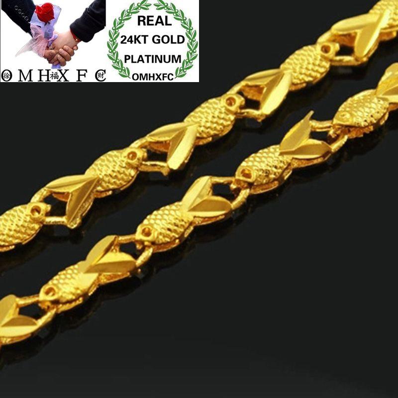 MHXFC, venta al por mayor, moda europea, mujer, fiesta, regalo de boda, largo 46cm de ancho, 3mm, pez Real, collar de cadena de oro 24KT NL80