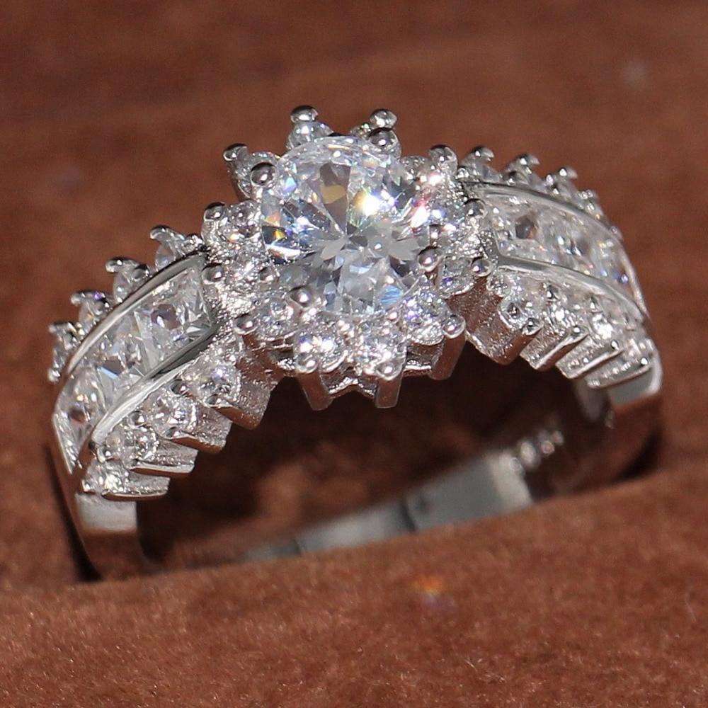 Joyería de lujo Original marca Vecalon 10KT oro blanco relleno 5A circonia transparente CZ princesa clásica mujeres regalo de anillos de boda