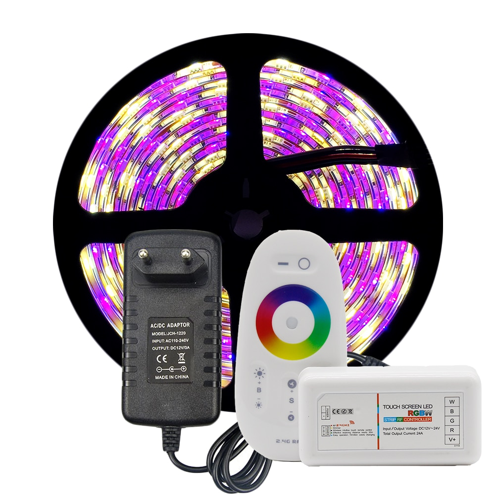5050 LED tira Kit RGB/RGBW/RGBWW 5M 300LEDs cinta de luz de neón + 2,4G Control Remoto + DC 12V 3A adaptador de corriente