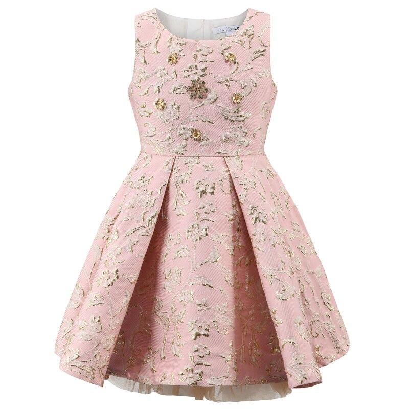 Vestido de princesa para niña Bongawan, otoño e invierno para bordado, ropa para niños, vestido para niños con flor de lentejuelas, para fiesta de boda