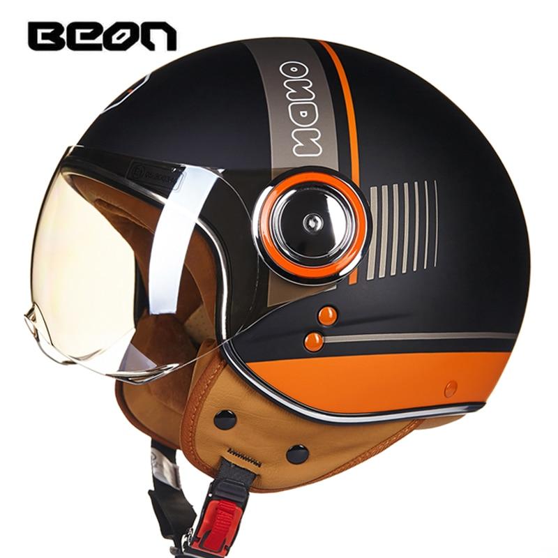 BEON Motorcycle 3/4 retro Helmets Vintage Chopper Open Face Helmet Moto Casque Casco Capacete Men Women Scooter Motorbike Helmet
