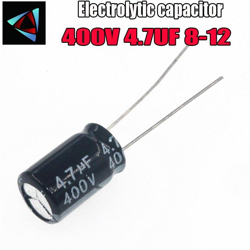 12 pces higt qualidade 400 v 4.7 uf 8-12mm 4.7 uf 400 v 8*12 capacitor eletrolítico
