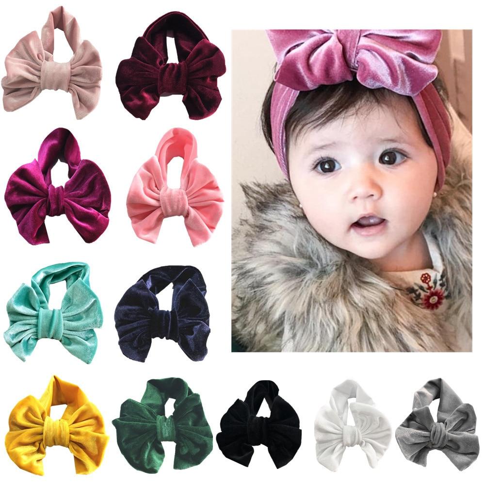 Baby Boys Girl Toddler Kids Big Bowknow Elastic Headband Hair Band Headwear Toddler Girls Princess Velvet Head Bands