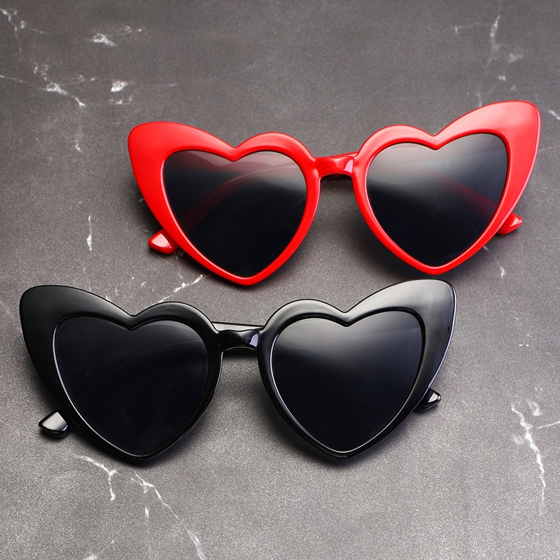 KLASSNUM Love Heart Sunglasses Women Brand Designer Cat Eye Sun Glasses Retro Shaped Glasses Ladies