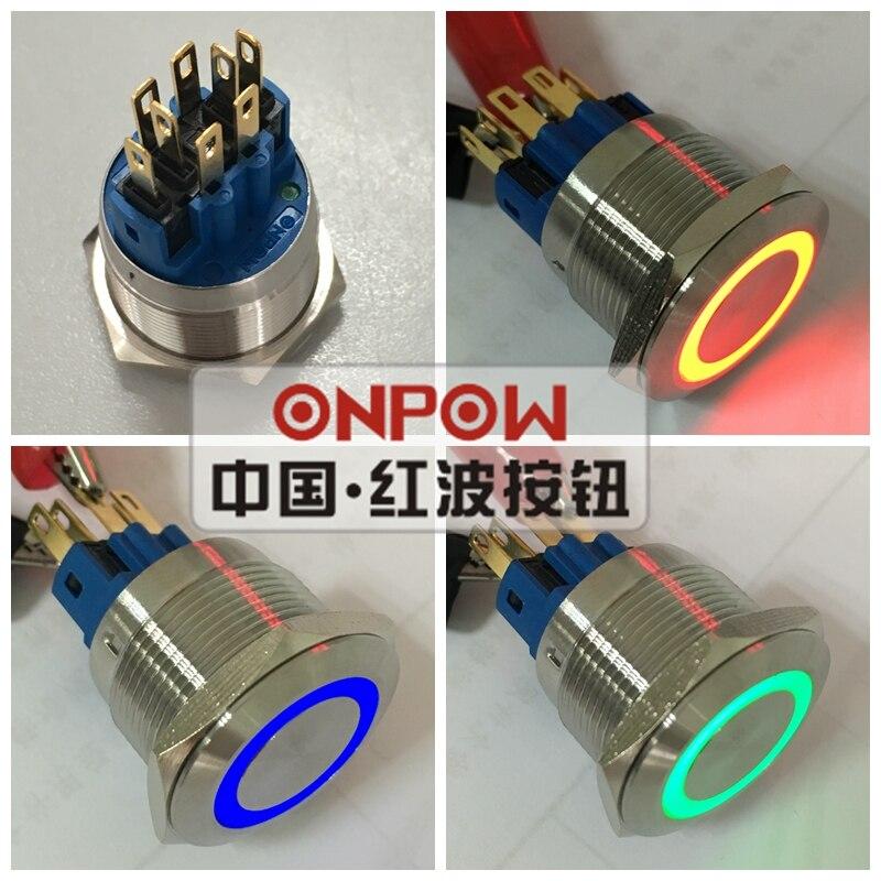 ONPOW 22mm momentáneo tri-color RGB LED anillo LED interruptor de botón de acero inoxidable (GQ22-11E/RGB/12 V/S/Nuevo) CE, ROHS