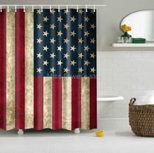 Rideau de douche personnalisé   Design de drapeau américain rétro, tissu imperméable aux taches de moisissure, avec 12 crochets de 60x72 pouces 150cm x 180cm