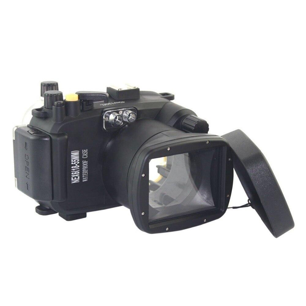 Mcoplus 40m 130ft 40m للماء الغوص كاميرا الإسكان حقيبة حالة لسوني NEX6 NEX-6 18-55 مللي متر لين