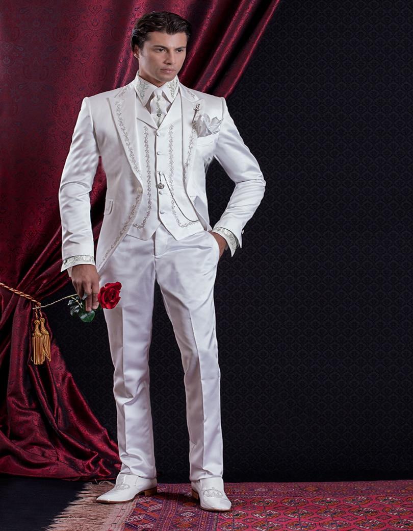 Modelo clásico traje guapo FRAC baile traje de esmoquin de novio de moda estilo palaciego chaqueta traje de hombre Pantalones chaleco