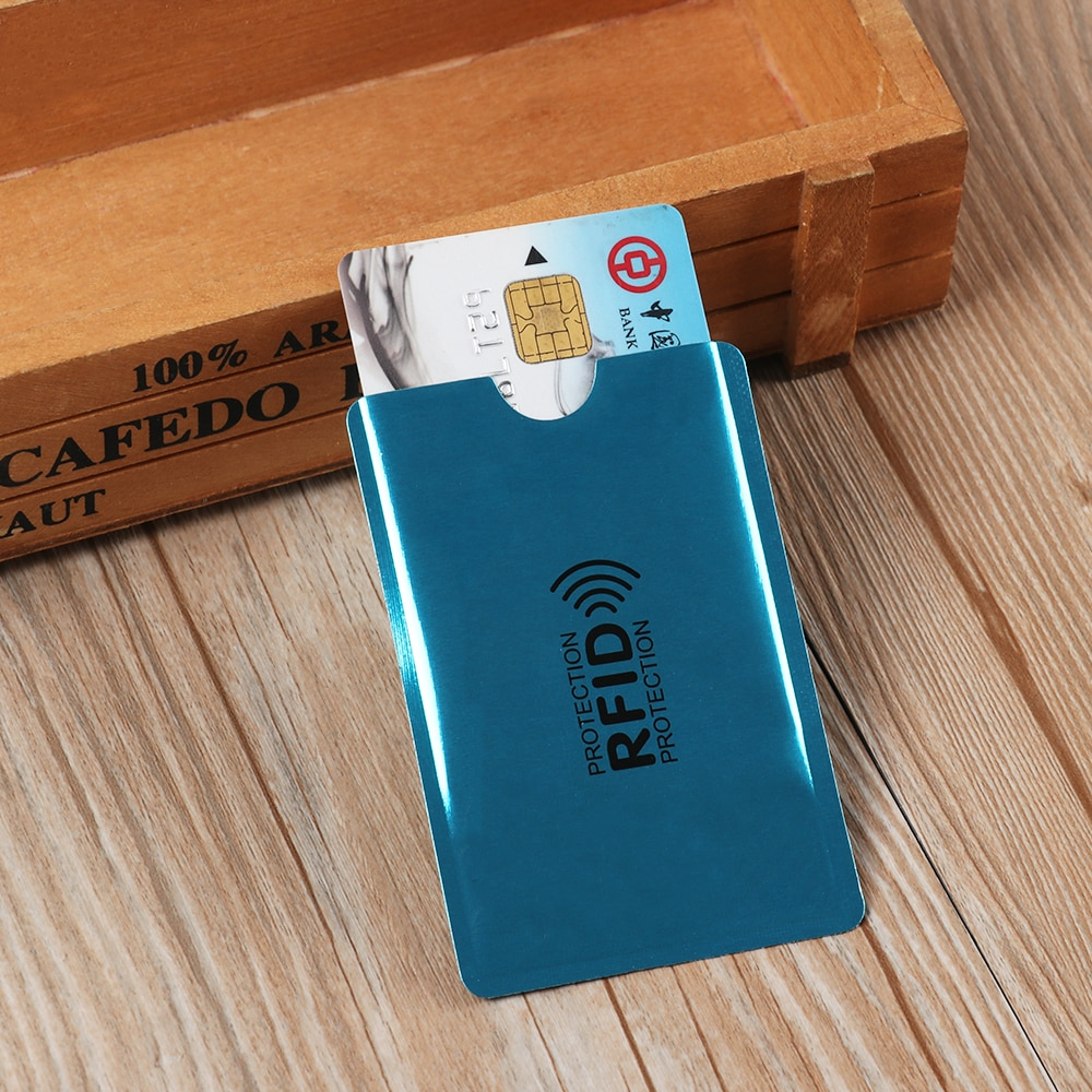 10 Uds. Anti Rfid lector de bloqueo de la tarjeta titular de la tarjeta Id Banco de la caja de la tarjeta de aluminio Metal inteligente Anti-robo titular de la tarjeta de crédito
