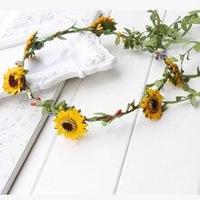 Couronne couronne à fleurs de tournesol jaune   Bandeau de vrais cheveux de fleur, couronne de cheveux rustique pour mariée, Halo de fleur pour enfants, festival de voyage fleur