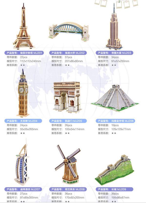 Robotime деревянная 3D модель DIY игрушка подарок головоломка wolrd большая архитектура Биг Бен Эйфелева башня мост Бурдж аль арабский отель