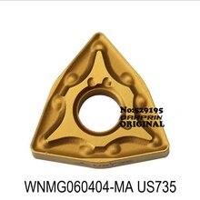 MITSUBISHI WNMG060404-MA US735 carbide inserts WNMG060404 WNMG 060404 voor Rvs draaien tool Draaibank Cutter Gereedschap CNC