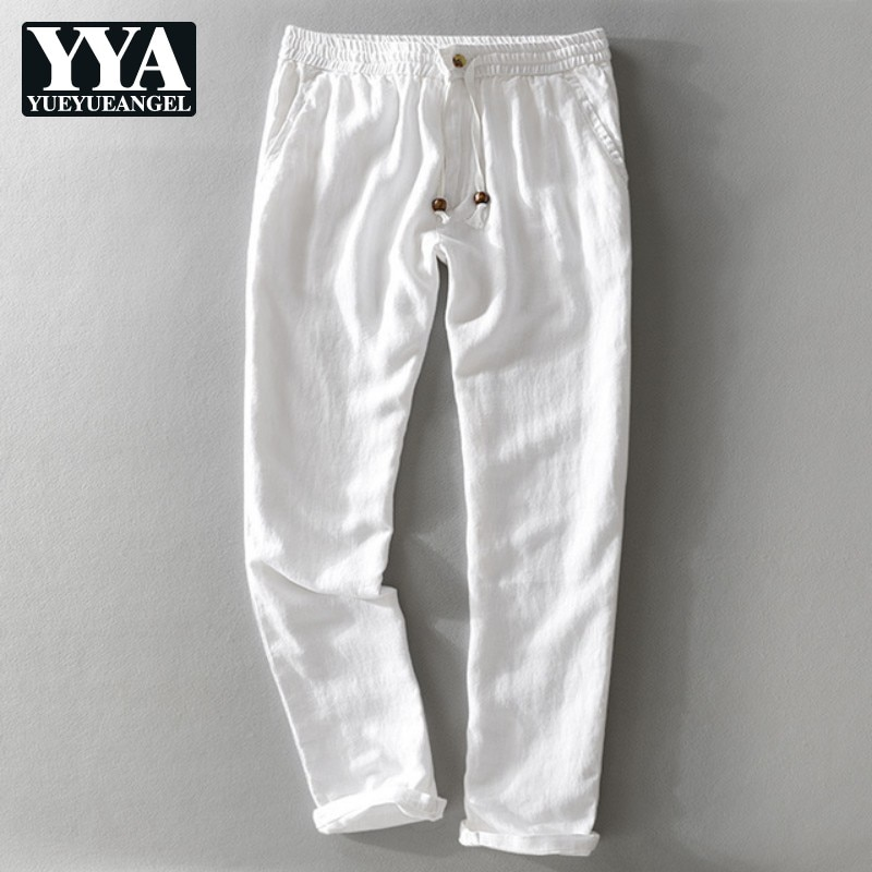 2019 Outono Verão Calças Brancas Homens Marca Calças Dos Homens de Linho Cintura Elástica Calças Soltas Dos Homens Tamanho 5 30-40 cores Pantalon Hombre