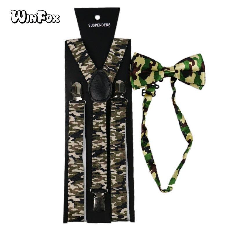 Winfox, tirantes militares Vintage para hombres, pajarita para mujeres, ancho 2,5 cm, conjunto de lazo de camuflaje, tirantes tácticos, Liga