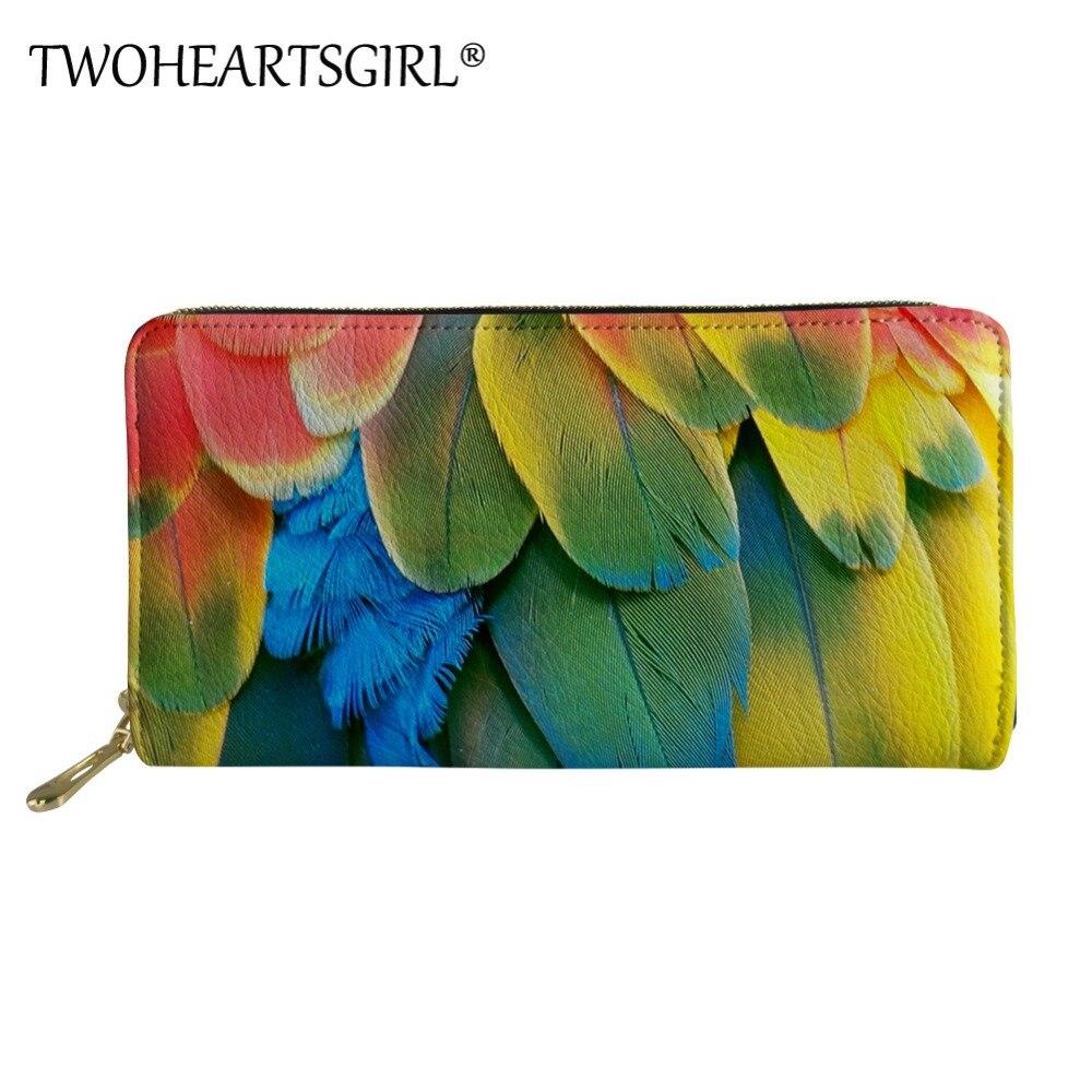Twoheartsgirl-cartera larga con estampado De loros para Mujer, cartera De mano con...
