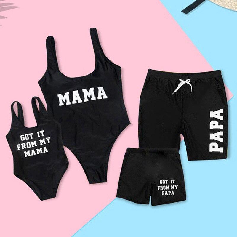 Maiô para a Família Roupas Combinando Mamãe Me Olha Mãe Filha Swimwear Biquíni Vestido preto Roupa de Pai e Filho de Natação Shorts