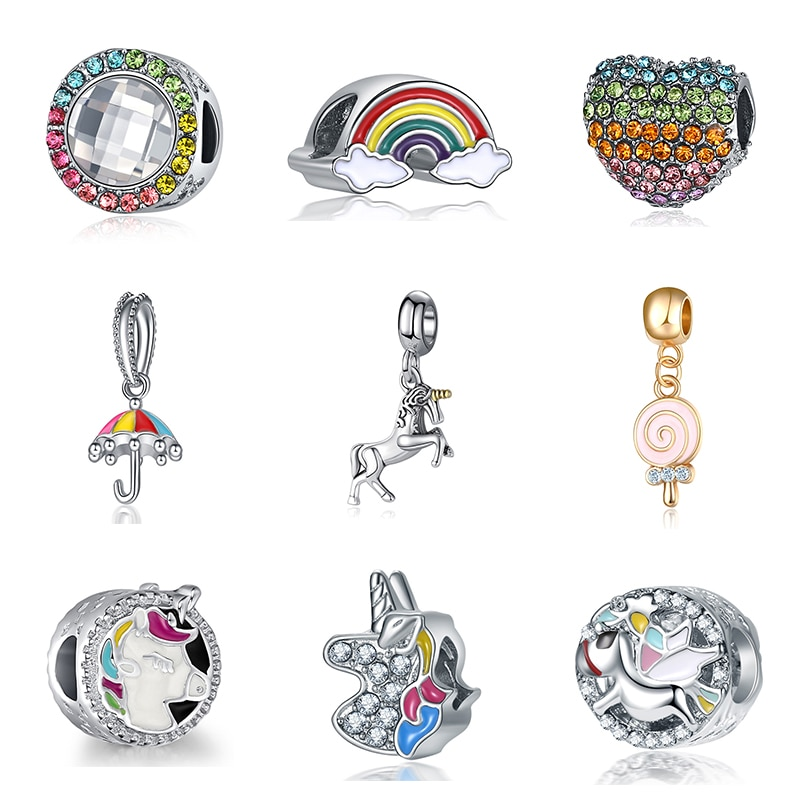 2019 novo original grânulo liga arco-íris unicórnio cavalo esmalte pingente charme caber pandora pulseira colar diy jóias femininas