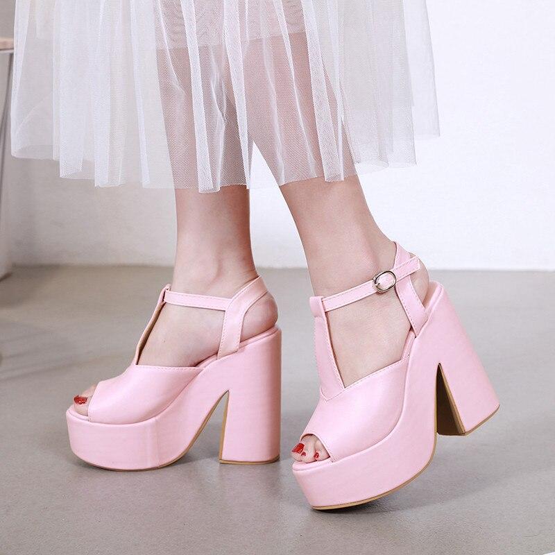 YMECHIC moda verano 2019 Goth fecha rosa para mujer zapatos de plataforma de fiesta Peep Toe Super tacones de plataforma Punk sandalias de mujer